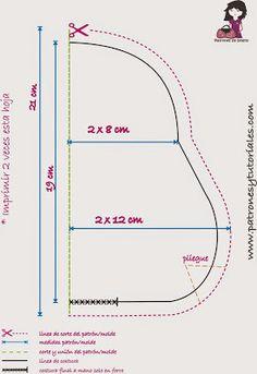 Patrones y tutoriales de bolsos gratis: Aquí tenéis el patrón a escala real. Solo tenéis q...