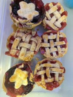 Lattice with my 5 year old daughter :) Used star cutouts for cherry/blueberry mix pie Mini Cherry Pies, Muffin Tins, Unsalted Butter, Blueberry, Waffles, Daughter, Star, Baking, Breakfast