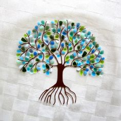 A festive fused glass plate with the Tree of Life in Shakuf designs original and favorite design.  Blooming Branches are now featured on a tree!