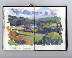 "David Farren on Instagram: ""October Farm #painting #landscapepainting #sketchbook #pleinair #gouache #gouachepainting #farm #dordognetourisme #dordogne #perigord…"" Gouache Painting, Watercolor Paintings, Watercolor Ideas, Abstract Landscape, Landscape Paintings, Watercolor Journal, Art Sketchbook, Painting Techniques, Cool Art"