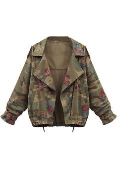 Chic Camo Slanted Pocket Jacket