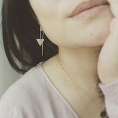 Threader Earrings/ Triangle Threader Earrings/ Drop by cocowagner