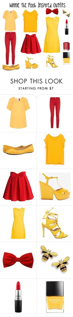 """""""Winnie the Pooh Inspired Outfits"""" by aechau ❤ liked on Polyvore featuring Manon Baptiste, Love Moschino, Nine West, Zara, Chicwish, Sergio Rossi, Diane Von Furstenberg, Steve Madden, Natures Jewelry and MAC Cosmetics"""