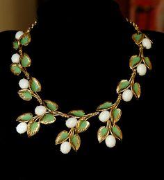Stunning Signed Vintage Schiaparelli Enamel Cab Necklace | eBay