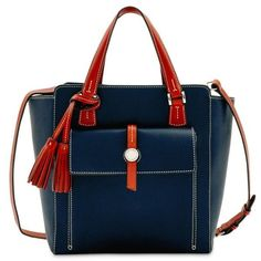 Dooney  Bourke Midnight Blue Cambridge North South Shopper Bag featuring polyvore, women's fashion, bags, handbags, tote bags, midnight blue, tassel handbags, tassel purse, shopping bag, blue tote bag and pocket tote