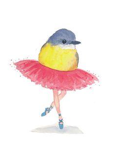 Bird Watercolour Original, Ballet Bird, Bird Art, Pink Tutu, Ballet Art, 8x10 Painting