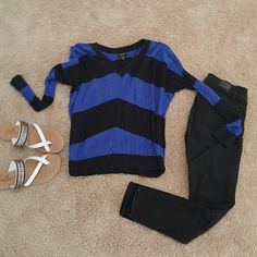 Black and blue top Black and blue long sleeve stripped top Apt. 9 Tops Blouses