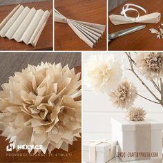 Pěkná dekorace z hedvábnéh papíru, která se hodí na jakýkoliv druh oslavy (narozeniny, vánoce atd.) nebo prostě jenom tak. Zdroj: Craftbyphoto.com