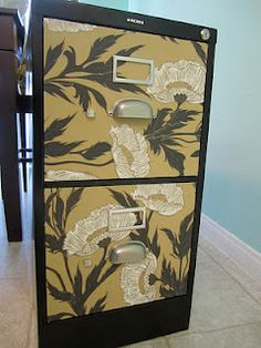 Refinishing ideas for the metal cabinet... lots on this page.