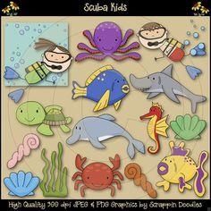 Scuba Kids Clip Art Download - $3.50 : Scrappin Doodles, Creative Clip Art, Websets & More