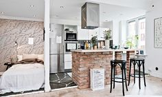 one-room Scandinavian apartment kitchen and sleeping area wall - Home Decorating Trends - Homedit One Room Apartment, Apartment Kitchen, Apartment Interior, Apartment Living, Studio Apartment, Scandinavian Apartment, Scandinavian Home, Tiny Apartments, Tiny Spaces