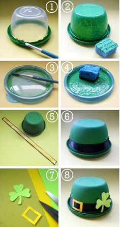 Leprechaun Hat Favours - These St. Patrick's Day little leprechaun bowler hats are exactly that – bowls, plus a handful of sweet treats, you can turn snack-size plastic bowls into charming party favours. St Patricks Day Crafts For Kids, St Patrick's Day Crafts, Holiday Crafts, March Crafts, Fun Crafts, Deco St Patrick, Leprechaun Hats, Leprechaun Costume, Paper Crafting