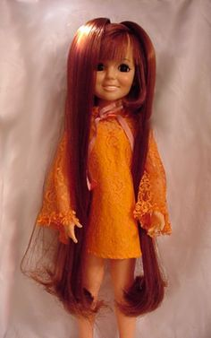 Loved my Crissy Doll. Push a button on her belly and her hair pulled out of the top of her head. Turn the button on her back and it wound back up. 1969ish. Wish I knew how to post a picture of my own mint condition Crissy and Velvet.