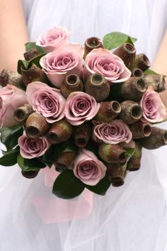Pink roses with gum nuts, leaves Floral Bouquets, Wedding Bouquets, Wedding Flowers, Wedding Events, Wedding Day, Wedding Dreams, Wedding Bells, Blooming Rose, Sydney Wedding