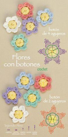 Crochet: flores con botones de 2 o 4 agujeros! Diagrama de la flor de 6 pétalos :)