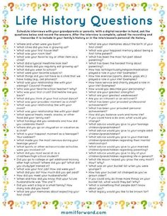Life History Questions Printable List of family interview questions for your family history. Genealogy Research, Family Genealogy, Genealogy Chart, Genealogy Websites, Genealogy Forms, Genealogy Humor, Bujo, Journal Writing Prompts, Journal Topics