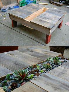 DIY coffee table.. So easy. And could be an outside table, a coffee table with pot plants/herbs, a kids table with jars of crayons. Options are endless!