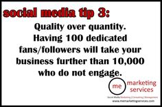 social media tip 3: quality over quantity.