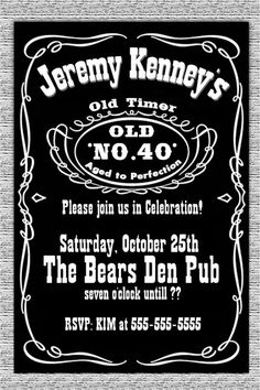 Jack Daniels Label Birthday Invitation- adult custom invitations