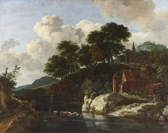 Jacob Isaaksz Ruisdael - Hilly Landscape with a Watermill