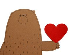 Bear Valentine Card I Love You Card Bear with Red Heart by poosac