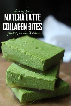 Matcha Latte Collagen Bites by Paleo Parents: 1/2 C cold water 3 Tbsp Collagen Proteins (Green Label) 1 1/2 C boiling water 1/2 C green tea powder 1/4 C maple syrup 1/2 C coconut milk powder 1/2 tsp salt