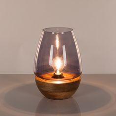 Tafellamp Mourenx - glas/bamboehout - 1 lichtbron