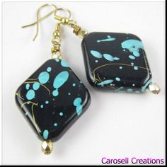 Abstract Turquoise and Gold Acrylic Drop Earrings Chunky Jewelry Puff Diamond Shaped Earrings by carosell TAGS - Jewelry, Earrings, Dangle earrings, Drop Earrings, carosell creations, acrylic earrings, lightweight earrings, beadwork, diamond shaped, abstract, jewelry, trendy earrings, affordable jewelry, chunky earrings, fashion earrings, statement earrings, turquoise and gold, etsy, handmade, women, ladies, accessories, pierced earrings, bold earrings