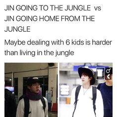 Yep, dealing with 6 kids is definitely harder :D // Jin bts