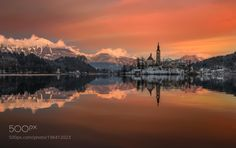 Popular on 500px : Bled Lake at Sunset by angelainokchong