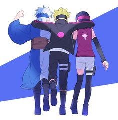 Mitsuki, Boruto Uzumaki and Sarada Uchiha - Naruto Next Generation Naruto Kakashi, Anime Naruto, Naruto Shippuden, Sarada Y Sasuke, Manga Anime, Naruto Gaiden, Boruto And Sarada, Naruto Team 7, Naruto Art
