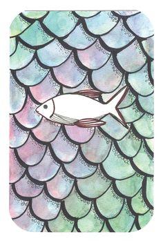 acuarela y delineado. pez sin escamas