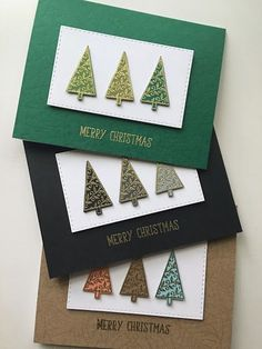 Punch trees out of glitter foil in different shades of color - Christmas Cards - Christmas Card Crafts, Homemade Christmas Cards, Christmas Cards To Make, Christmas Makes, Xmas Cards, Homemade Cards, Handmade Christmas, Holiday Cards, Merry Christmas
