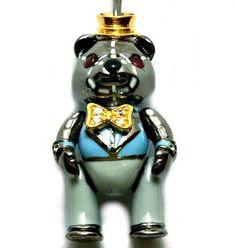 Mr. Bear-4129, Silver, Black Rhodium & 18ct yellow gold Vermeil, Ruby eyes. RRP$199
