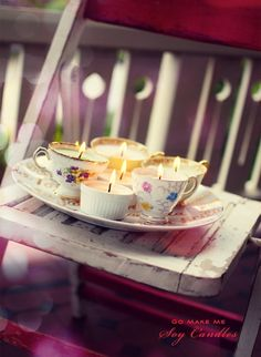 So what a good way to reuse teacups, especially teacups with no matching saucers. This is very adorable.