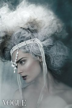 A powdered coiffure a la Marie Antoinette. Marie Antoinette, Bal A Versailles, Headdress, Headpiece, Avant Garde Hair, Vogue Magazine Covers, Portraits, Big Hair, Lady