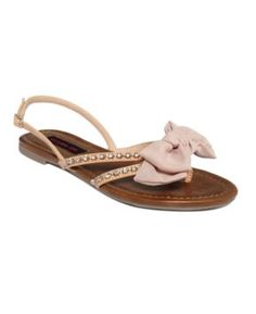 Material Girl Shoes, Rover Flat Thong Sandals $45
