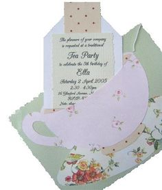 little: Parties: High Tea Tea Party Menu, Tea Party Favors, Tea Party Invitations, Tea Party Decorations, Party Party, Shower Invitations, Girls Tea Party, Princess Tea Party, Tea Party Birthday