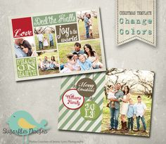 Christmas Card PHOTOSHOP TEMPLATE - Family Christmas Card 94 by SugarfliesDesigns on Etsy https://www.etsy.com/listing/168418329/christmas-card-photoshop-template-family