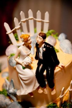 Whimsical Sitting Bride and Groom - Caucasian