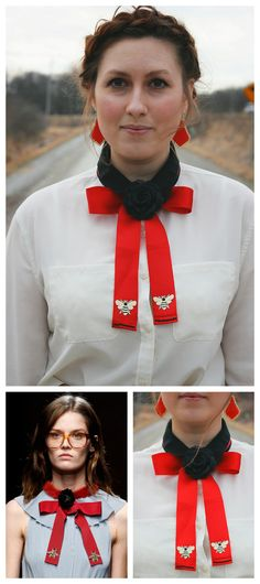 DIY Gucci Bow Tie Tutorial.This knockoff Gucci Bow Tie was inspired by Gucci's Spring 2016 show that was filled with insect embroidery. The DIY only takes about 30 minutes to make, and consists of bead embroidered, bee patch ribbons topped with a...