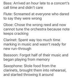 Music Jokes, Music Humor, Bassoon, Trombone, Music Things, Music Stuff, Music Theater, Theatre, Marching Band Jokes