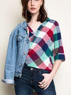 High-Low Plaid Shirt