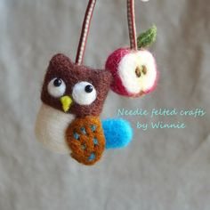 Needle felted multi purpose Owl and apple tie handmade OOAK by FunFeltByWinnie on Etsy