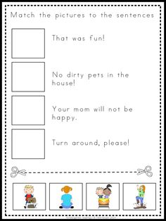 Kindergarten and first Grade cut and paste activity. This set has 20 fun and challenging read, think and match worksheets for beginning readers.