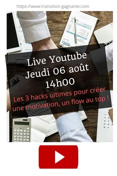 RDV jeudi 6 aout 14h pour un youtube live sur la génération de motivation et de flow à gogo ! 🔥  Je vous y attends et je vous partagerai mes 3 méthodes pour générer de la motivation non stop ! 🔥 #motivation #flow #youtube live #flow #hacks Motivation, Channel, Hacks, People, Thursday, Glitch, Cute Ideas, Daily Motivation, People Illustration
