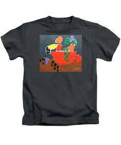 Patrick Francis Designer Kids Charcoal T-Shirt featuring the painting Bowl Of Fruit by Patrick Francis