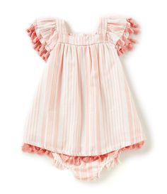 75c3deb6cb8b Jessica Simpson Baby Girls 1224 Months YarnDyed HerringboneStripe ALine  Dress  Dillards Baby Blessing Dress