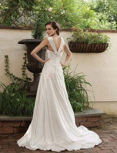 ❀ Strap Pleating Sleeveless Satin Sheath Wedding Dresses | Riccol ❤