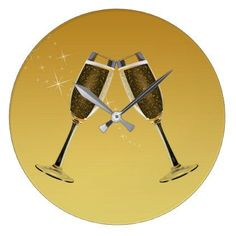 Champagne Glasses Celebration on Gold Large Clock - elegant gifts classic stylish gift idea diy style Gifts For Wedding Party, Party Gifts, Wedding Decor, Golden Anniversary Gifts, Large Clock, Gold Gifts, Champagne Glasses, Engagement Gifts, Diy Design